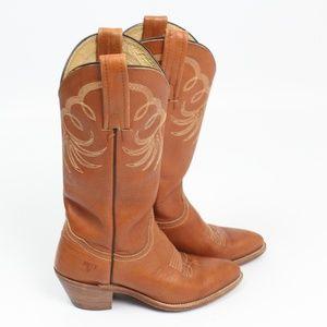 """Frye Vintage Cowboy boots tan brown 2 """" heel"""